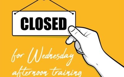 Closed from midday for training Wednesday 28 October
